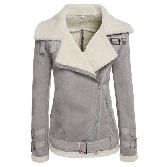 Brand Designer-Womens Lambs Wool Coat Aviator Leather Jacket Winter Thick Women Lapel Fur Coat Tops Women's Jackets