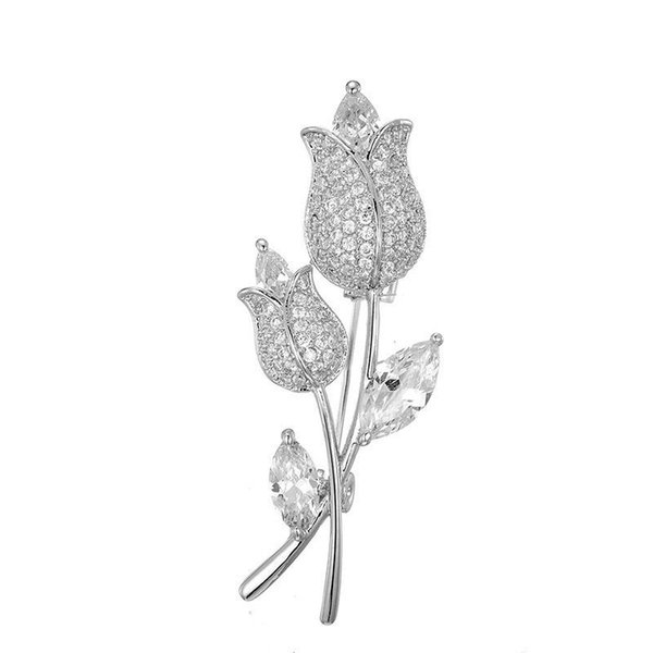 MGFam (060H) Full CZ Rose Flowers Brooches For Women Cubic Zircon White Gold Plated