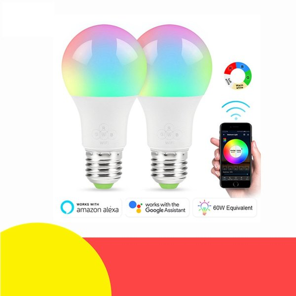 Neue E27 WiFi Smart Glühbirne Dimmbar Multicolor Wake-Up Lights RGBWW LED Lampe Kompatibel mit Alexa und Google Assistant