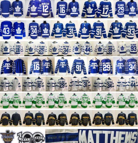 Jerseys de Toronto Maple Leafs 16 Mitchell Marner 29 William Nylander 34 Matthews 91 Tavares 12 Marleau 44 Morgan Rielly 31 Frederik Andersen