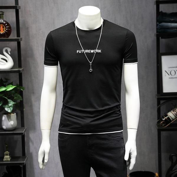 T gömlek mens Basit ruhu rahat yarım kollu t-shirt yuvarlak boyun pamuk ince erkek kısa kollu mektup baskı vahşi gömlek