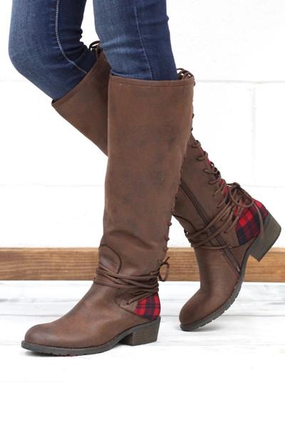 Puimentiua 2019 Kadın Diz Üzerinde Çizmeler Kız Yuvarlak Baş Bağlanır Kadın Çizmeler Frenulum Kare Topuklu Sıcak satış DFGD-911