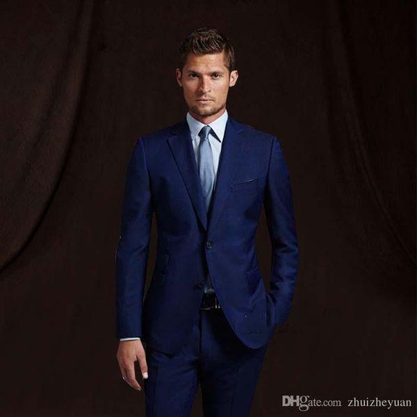 Navy Blue Groom Wear Wedding TuxedosMens Suit With Pants Wedding Suits Groomsmen Best Man Formal Business Suit (jacket+pant)