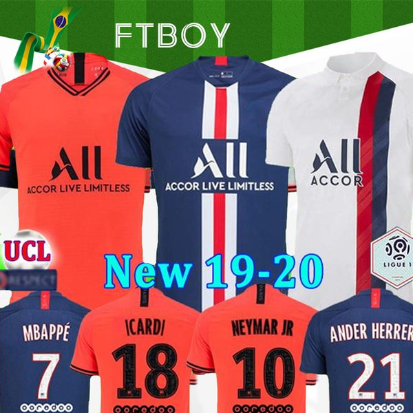 top popular Maillots de football kit 19 20 PSG soccer jersey 2019 2020 MBAPPE ICARDI MARQUINHOS jersey camisetas de futbol shirt men kids sets maillot 2019