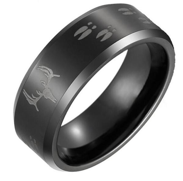 Custom Brush Black Tungsten Ring wholesales with Antler engraved 8mm