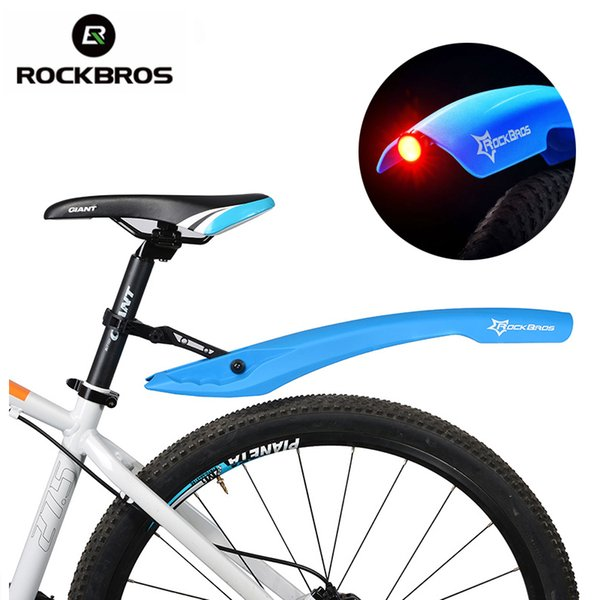 ROCKBROS Flectional Bike MTB Front Rear LED Mudguard Set Cycling Bicycle Durable Fender Plastic With LED Light Quick Release