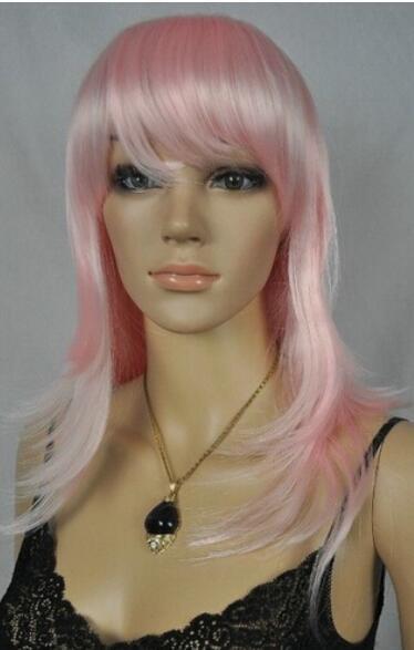 SPEDIZIONE GRATUITA ++ New Light Pink Straight Long Cosplay