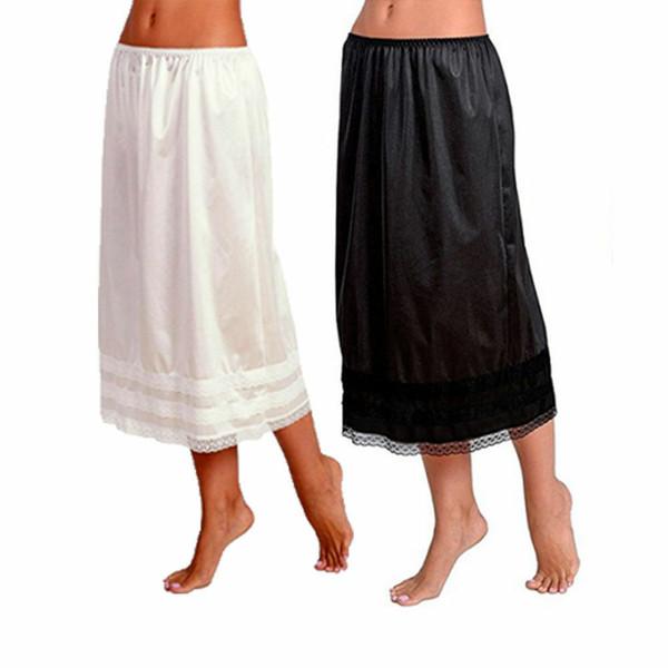 2019 Fashion Damen Elastic Waist Slip Damen Womens Lace Long Skirt Unterrock Petticoat Extender Gonne White Röcke L-3XL