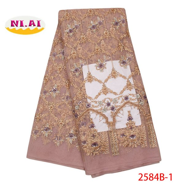 African Lace Fabric Handmade French Tulle Lace Fabric 2019 High Quality Nigerian Laces Fabrics With Beads For Wedding XY2584B-1