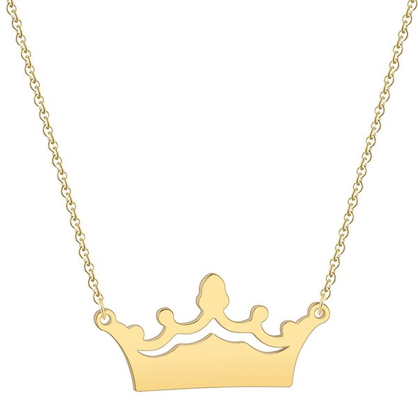 Imperial Crown Necklaces & Pendants Women Fashion Stainless Steel 3 Colors CROWN Charm Necklaces Birthday Gifts Jewlery