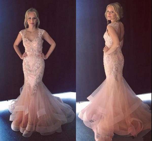 2019 Blush Pink Mermaid Evening Formal Dresses Cap Short Sleeves Lace Beaded Crystal Designer Prom pageant Red Carpet Dress Long Cheap
