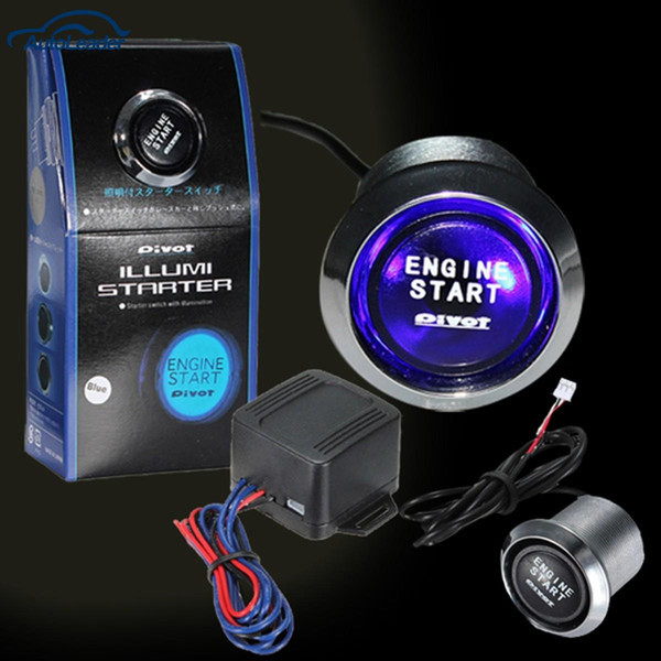 Freeshipping 12V Arranque del motor del automóvil Interruptor de botón de encendido Equipo de arranque Azul LED Universal