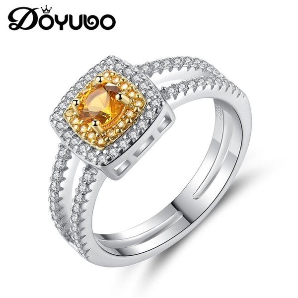 DOYUBO  925 Sterling Silver Wedding Rings For Lady Fashion Golden Square Semi Precious Stone Ring Women Fine Jewelry VB310