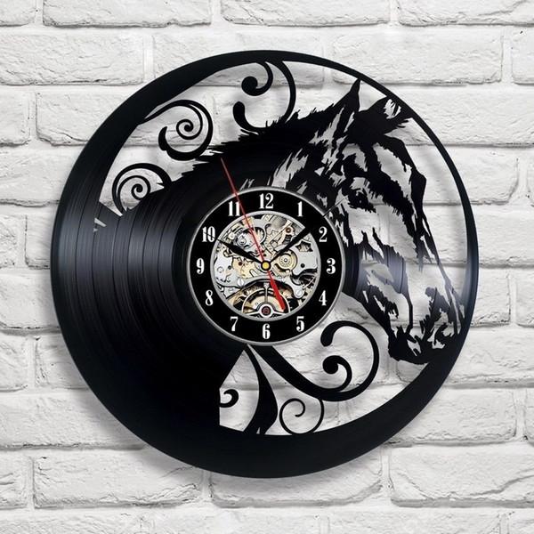 Cavalo Novo 12 polegada Relógio de Parede de Vinil Recorde Rodada Relógio De Parede Preto Relógio Criativo Decoração de Casa Moderna Simples Sala de estar Decoração de Ação de Graças