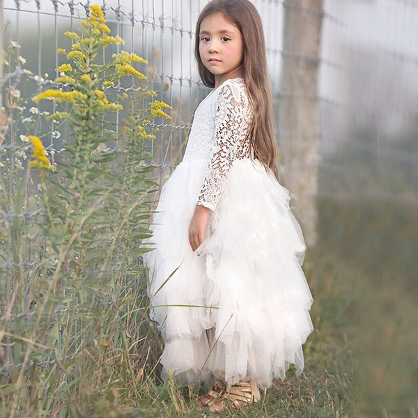 Cute Pink Little Girl Ceremonies Dress Baby Children's Clothing Tutu Kids Dresses for Girls Club Wedding Party Gown Vestidos Robe Fille