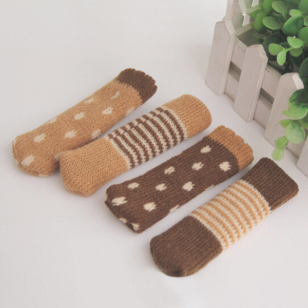 4 pcs/set Knitted Dining Table Chair Leg Socks Stool Mat Protective Case Chair Booties Stool Socks Protective Sleeve