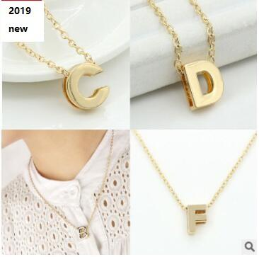 Buchstaben Halsketten für Frauen / Mädchen Gold Farbe Initial Anhänger Dünne Kette Englisch Brief Schmuck Alphabe Geschenk 566