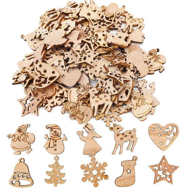 50pcs Mini-Holz-Weihnachtsbaum New Year Party-Dekorationen für Haus Ornamente Weihnachts Spielzeug Little Trees Pines Dorf Noel