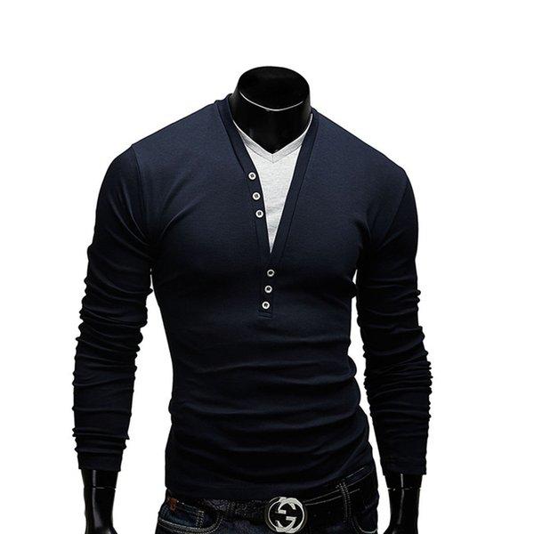 T-shirt classique col en V large pour hommes à manches longues de vêtement supérieur non doublé pour hommes T-shirt de fitness à manches longues pour hommes