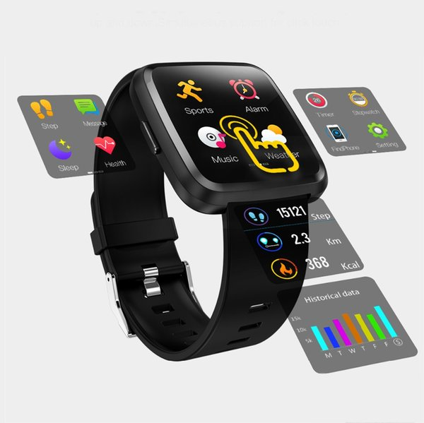 Y7 Plus Metal Smart watch IP67 Waterproof Touch Screen Heart Rate Monitor Blood Pressure Women men Wristband For Android IOS
