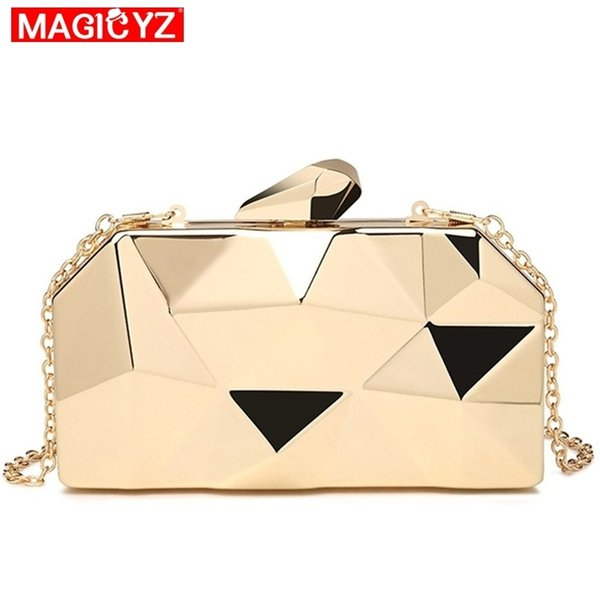 Gold Acrylic Box Geometry Clutch Evening Bag Elegent Chain Women Handbag For Party Shoulder Bag For Wedding/dating/party