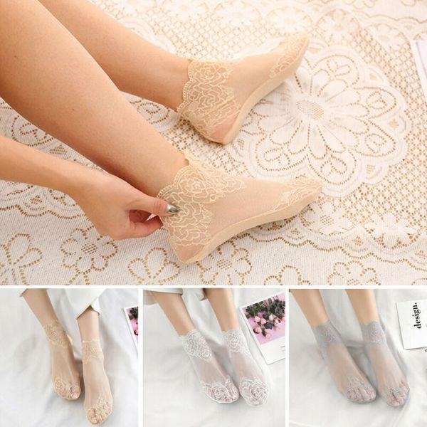Sexy Women Lace Silk Short Fishet Mesh Socks Lady Transparent Sheer Ankle Socks
