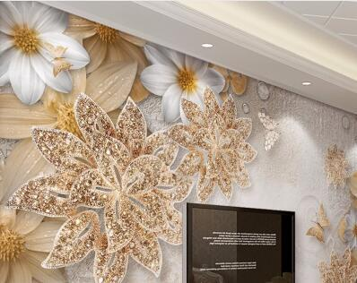 European Luxury Diamond Crystal 3D Wallpaper 3D Flocking Non