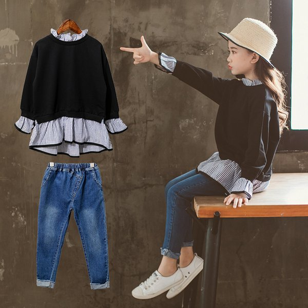 Stile Corea bambini Abbigliamento manica lunga Pullover allentati Camicette + Girls Jeans Autunno Autunno insiemi per bambini Inverno Costumn per ragazze