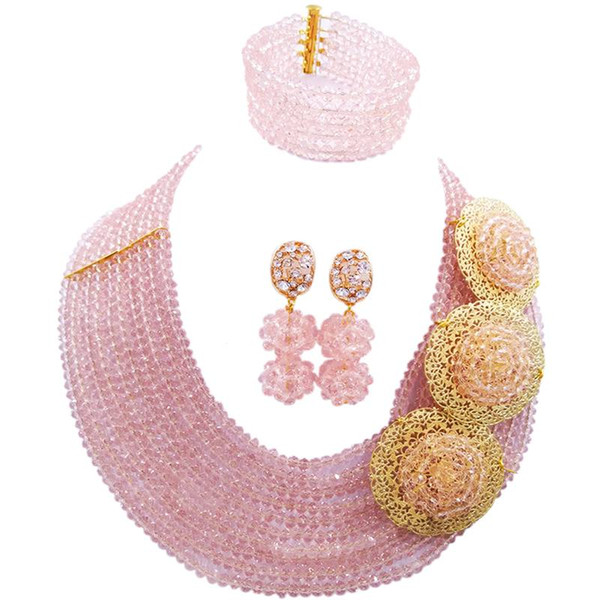 Factory Direct Sale Peach Color Nigerian Women Wedding Beads Necklace Jewelry Sets 10C-C3PH-15