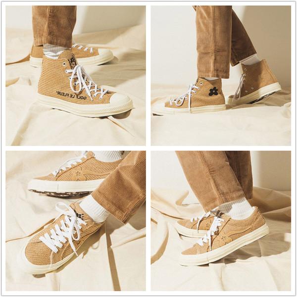 Chuck 70 s Burlap Golf Le Fleur Sapatos Casuais de Alta OG de girassóis Novos 1970s Designer Bege Formadores Homens Mulher Tricô Skate Sneaker