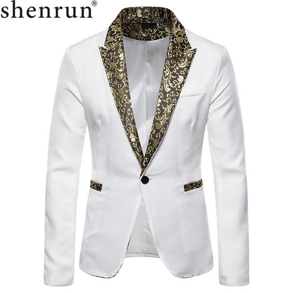 Shenrun hombres Blazers Otoño Invierno Moda Smoking Jacket Negro Blanco trajes del cantante del músico anfitrión chaquetas del juego etapa del vestido del novio