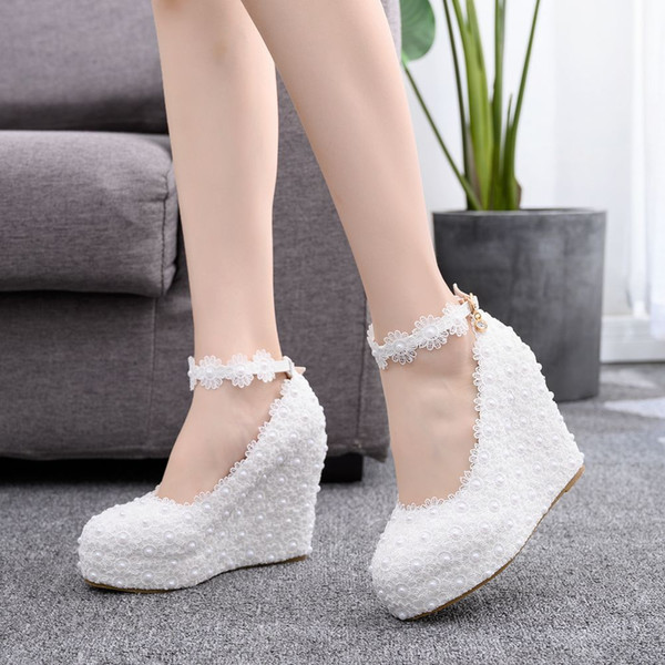 Wedding Wedge Heel shoes Waterproof white /pink bride wedding dresses edition diamond Flower shoe female EU 35-41