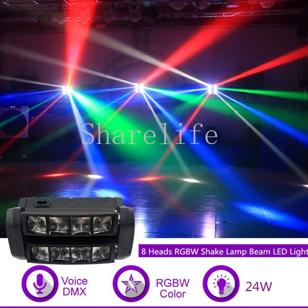 Sharelife 24W 8 Heads RGBW Shake Beam Lamp DMX Sound for KTV Club Bar DJ Light Home Gig Party Show Stage Lighting Effect X-117