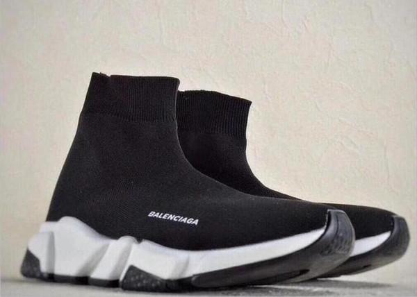 Alta calidad zapatos casuales moda hombre mujer marca calcetín botas mujer nuevo Slip-on tela elástica Speed Trainer hombres Designe Runners zapatos 36-45