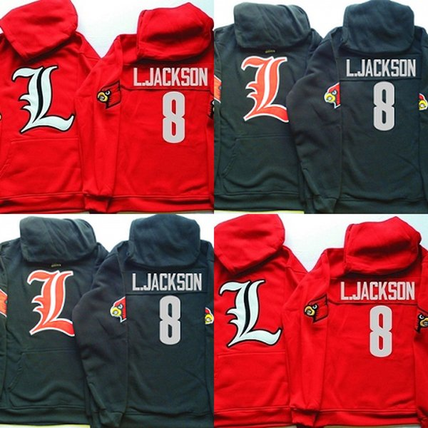 658ac122b1bd NCAA Louisville Cardinals Hoodie Jersey  8 L.JACKSON Football Sweatershirt  Jerseys Embroidery Stitching Name