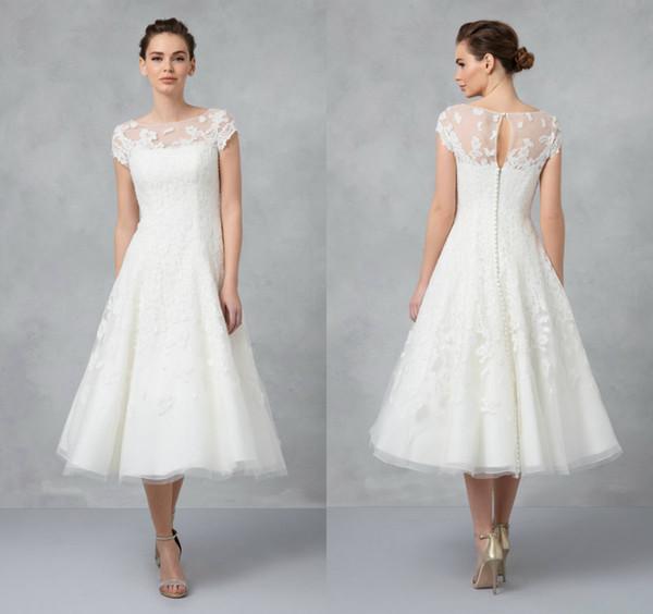 Discount Oleg Cassini Short Wedding Dresses Cap Sleeve Lace Applique Jewel  Neck Garden Boho Wedding Dresses Tea Length Plus Size Bridal Gowns Wedding  ...