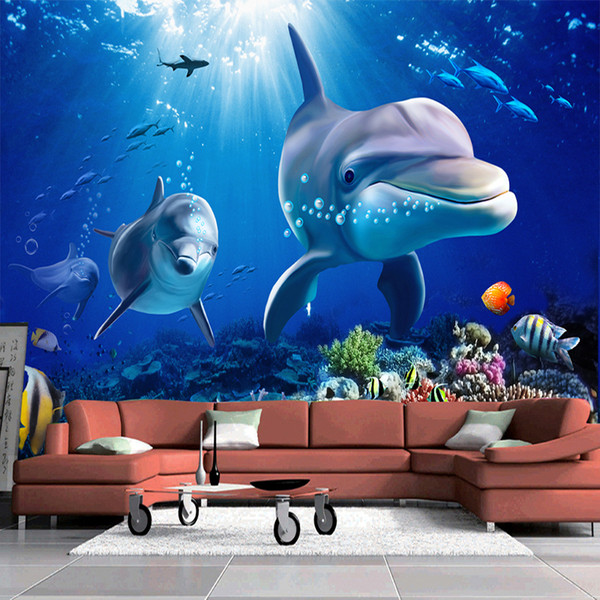 Custom Photo Wallpaper 3D Dolphin Underwater World Background Modern Wall Papers Home Decor Living Room Sofa TV Wall Painting