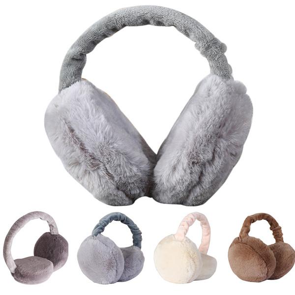 Mulheres dobrável ajustável Full Surround Ear Warmer Faux Fur Earmuffs inverno earlap Headband Protector
