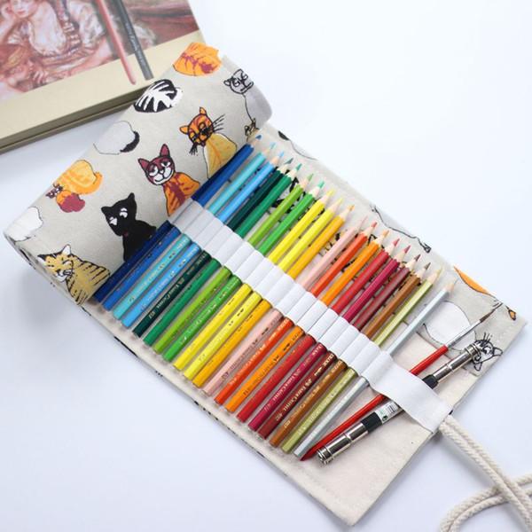 National Canvas cat School Pencil Case 36/48/72 Holes Up Bag Portable Pencil Box School Supplies material escolar