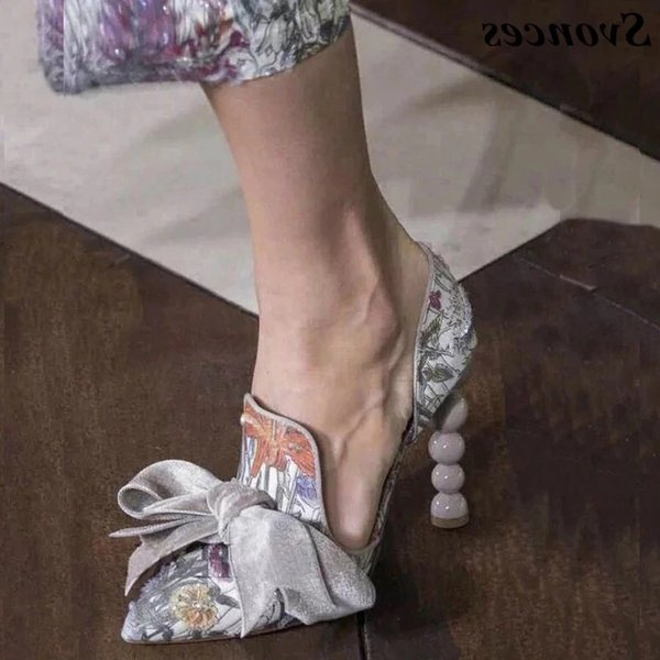 2019 Luxury Italian Style Navy Blue Pumps Velvet High Heels Shoes Women Banquet Dress Shoes Big Butterfly-knot Beading Heel Ladies Pumps