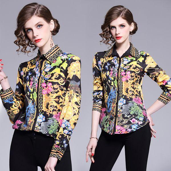 yuhanzhenbang / Alta Qualidade 2019 Runway Mulheres Moda Luxo impressão Shirts Tops Ladies Casual botão Front Office lapela Long Neck Sleeve magros shirt Blusas