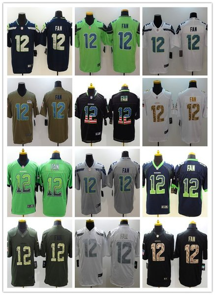 pretty nice a0054 a00dc New Mens 12 12th Fan Jersey Seattle Seahawks Football Jersey 100% Stitched  Embroidery 12th Fan Color Rush Football Shirts Best Quality Customize A ...