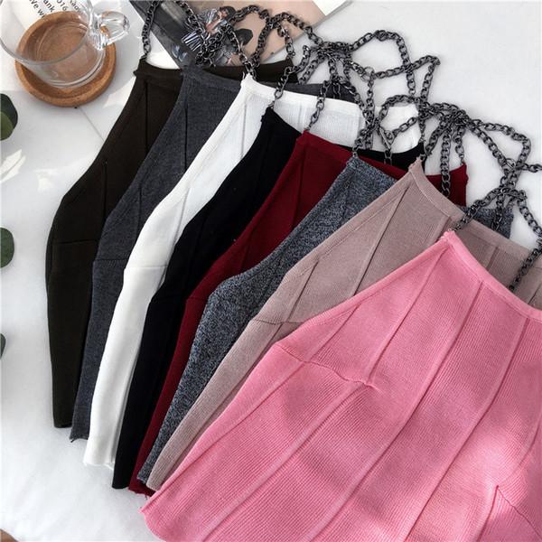 Camis de punto Mujeres Slim Knitting Halter Neck Camisole Tops Correas de cadena femeninas Crop Tanks Camisetas sin mangas Camisetas sólidas Camisetas