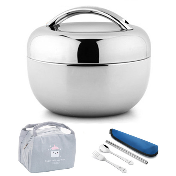 top popular Vacuum Thick Stainless Steel Food Storage Container Thermos Portable Picnic Bento Lunch Box Office Lunchbox Adult Dinnerware Set T200111 2021
