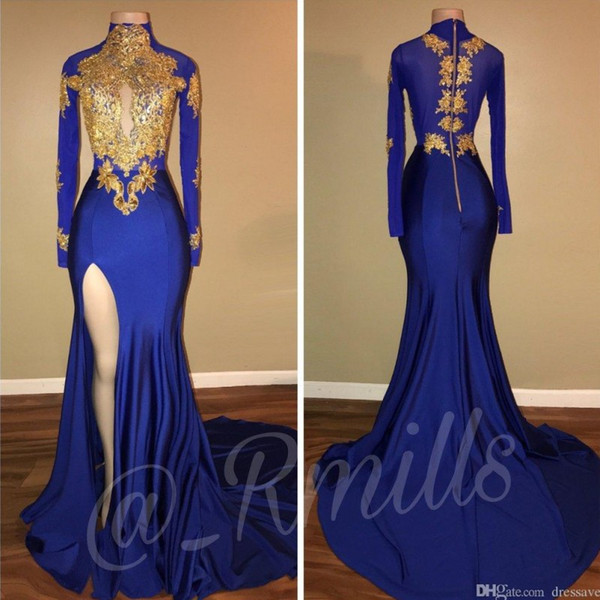 2019 Sexy High Neck Blue Prom Dresses Mermaid Slit Long Sleeves Party Dress Evening Wear Lace Applique Sequined Graduation Gowns 2K19