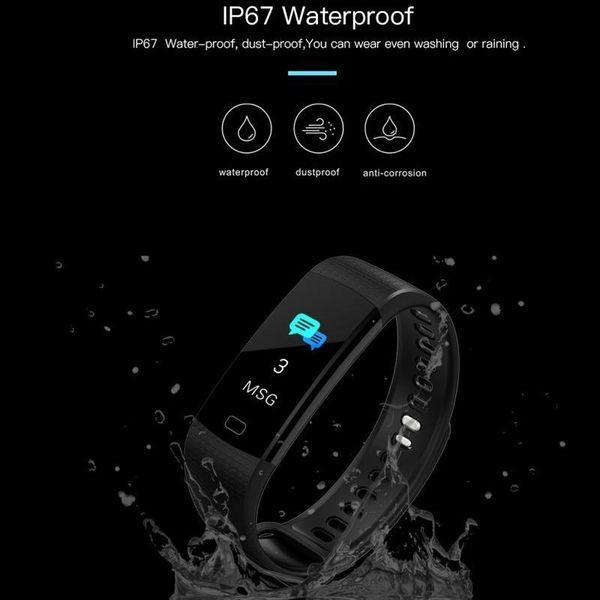 Y5 Smart Band Watch Pantalla en color Pulsera Actividad de ritmo cardíaco Rastreador de ejercicios Smartband Electrónica Pulsera para iPhone Andriod