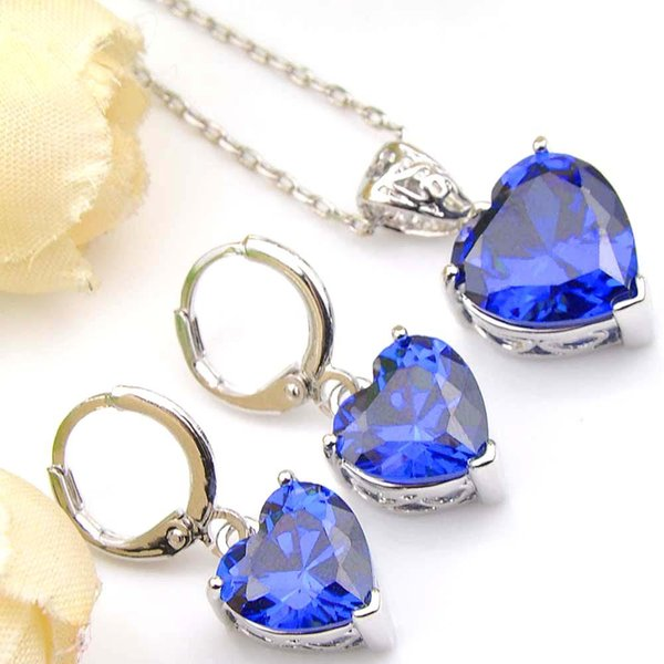 Hot 6 Sets Blue Topaz Cubic Zirconia Gems 925 Silver Heart Pendants Necklace Earring Wedding Engagement Weddings Jewelry Sets