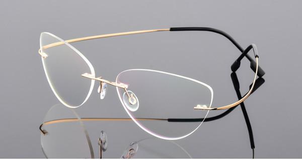 Oeil de chat femmes Lunettes de myopie sans monture en alliage de titane Lunettes de vue sans vision Prescription -0.50 -0.75 -1.0 -1.25 à -6.00