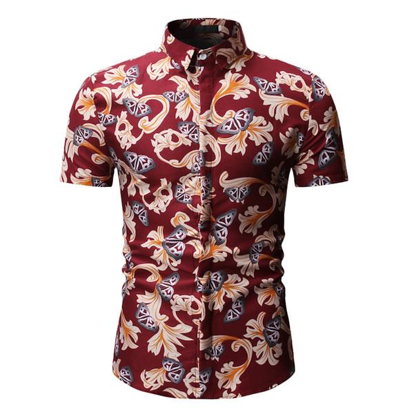 Mens Flower Shirt New Casual Tops Short Sleeve Shirts Summer Slim Fit Shirt 2019 Fashion Clothing Red Black Blue