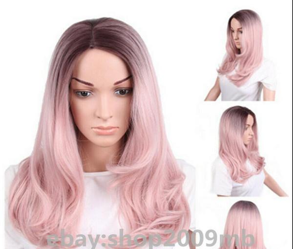 Détails sur les femmes Ombre Rose de cheveux synthétiques fibre de perruques cosplay vague Fashion Style